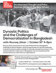 Dynastic Politics and the Challenges of Democratization in Bangladesh w/ Rounaq Jahan @ New School University Center Rm. 311