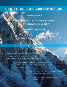 Religion, Nature and Mountain Habitats | ICI + ISSRNC Conference (2017 Tentative) @ The New School