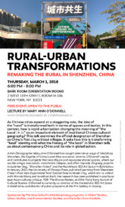 Rural-Urban Transformations: Remaking the Rural in Shenzhen, China @ BARK ROOM (ORIENTATION ROOM)